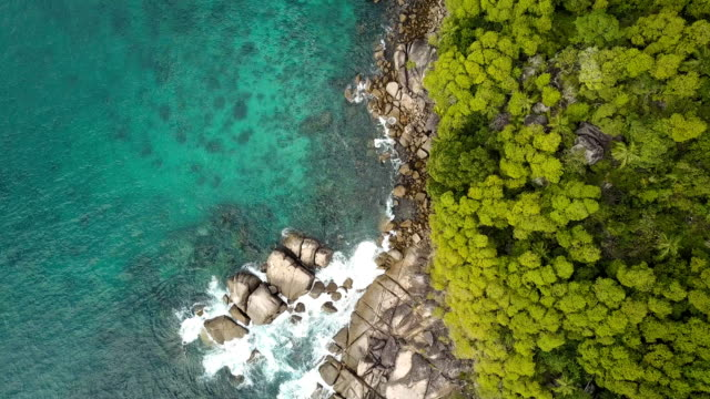 flying over anse takamaka - mahe - seychelles - pjphoto69 stock videos & royalty-free footage
