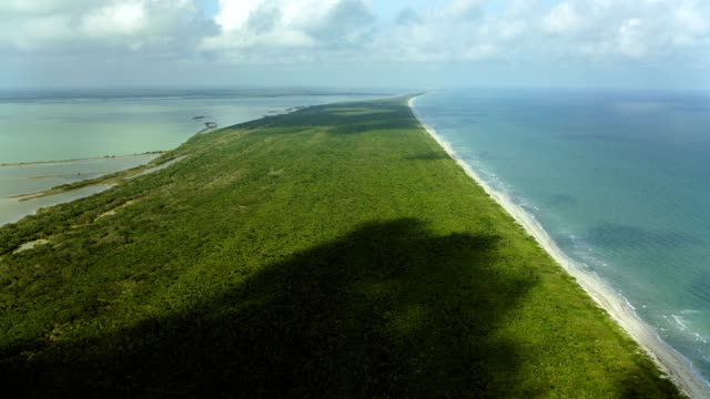 Flying Over Barrier Island In Coastal Mexico