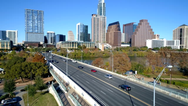 flying over Bridge near Downtown Austin , Texas sunny days in Fall Autumn Winter Collection