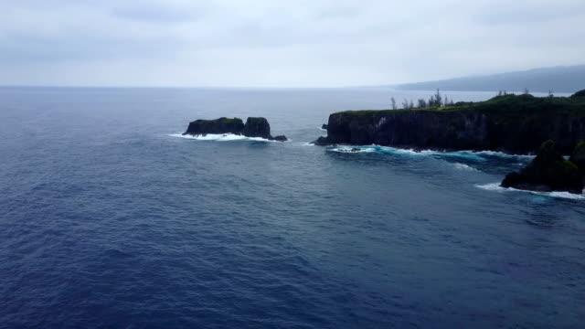 Flying Over Calm Ocean Off Maui Coast Toward Peninsula