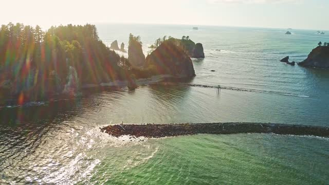 flying over cannon beach in oregon - oregon coast stock videos & royalty-free footage
