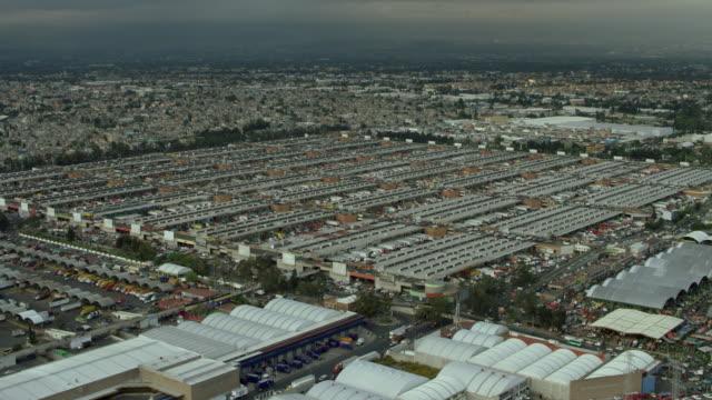 flying over central de abastos in mexico city - central de abastos stock videos & royalty-free footage