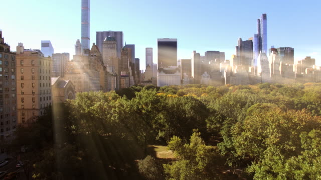 flying over central park in new york city. sun light beaming through modern skyscraper buildings - central park manhattan stock videos and b-roll footage