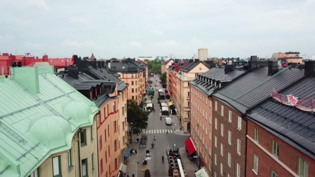flying over central stockholm, apartment buildings - drone point of view stock videos & royalty-free footage