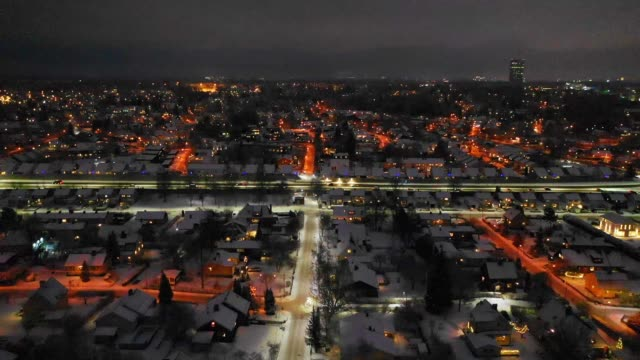 flying over city by night. sollentuna - village stock videos & royalty-free footage