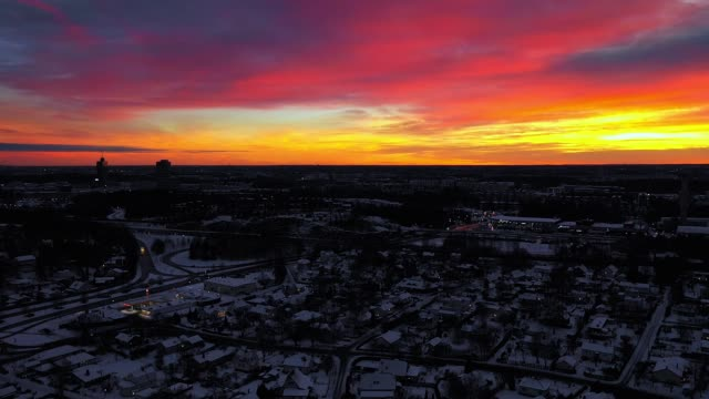 flying over city, winter sunset, sollentuna - town stock videos & royalty-free footage