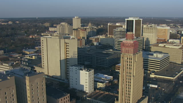 flying over downtown jackson to capitol building - jackson stock videos & royalty-free footage