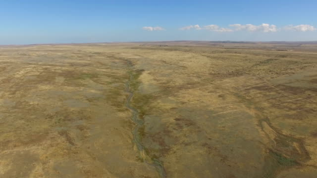 AERIAL: Flying over dried up plains