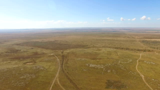 AERIAL: Flying over dried up prairies