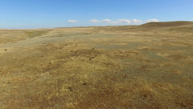 AERIAL: Flying over dried up steppe and hills