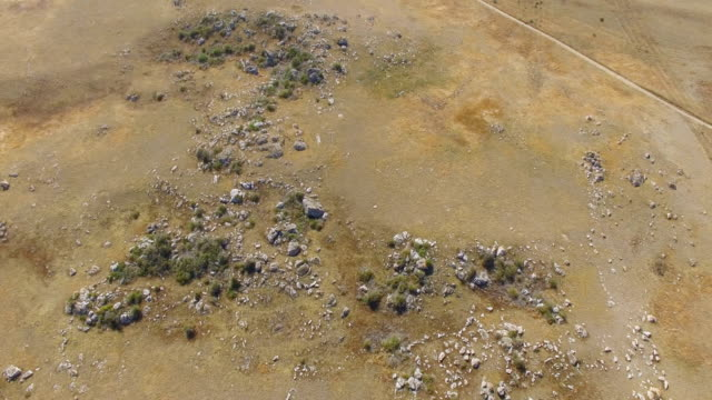 AERIAL: Flying over dried up steppe, top view