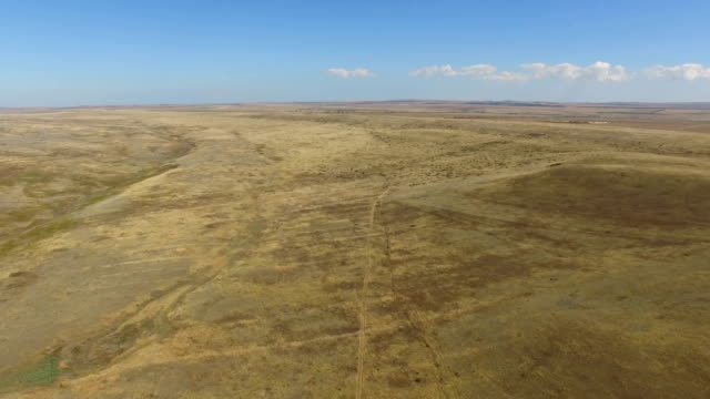 AERIAL: Flying over dried up steppe