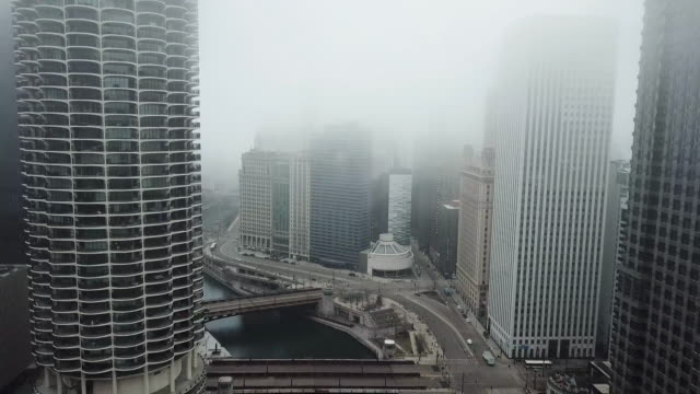 flying over empty chicago river during covid-19 pandemic - social issues stock videos & royalty-free footage