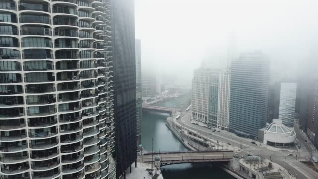 flying over empty chicago river during covid-19 pandemic - arts culture and entertainment stock videos & royalty-free footage