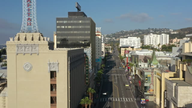 flying over empty hollywood boulevard during coronavirus pandemic - hollywood boulevard stock videos & royalty-free footage