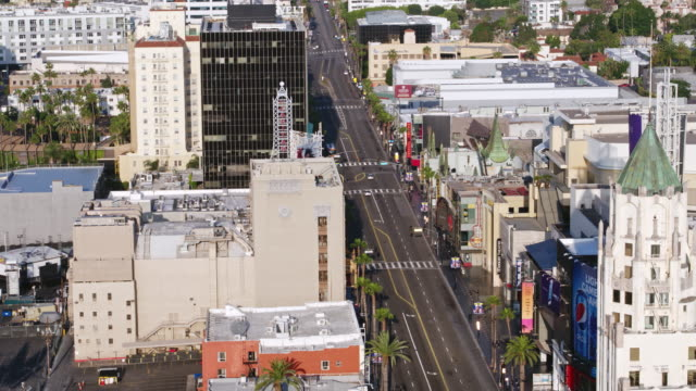 flying over empty hollywood boulevard during coronavirus pandemic - walk of fame stock videos & royalty-free footage
