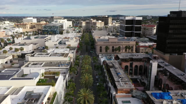 flying over empty rodeo drive in beverly hills during covid-19 pandemic - beverly hills stock videos & royalty-free footage