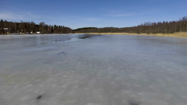 flying over frozen lake - north stock videos and b-roll footage