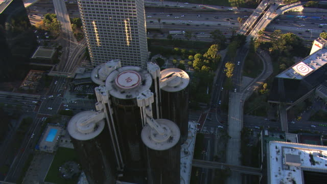 Flying over Westin Bonaventure Hotel to freeway in Los Angeles. Shot in 2008.