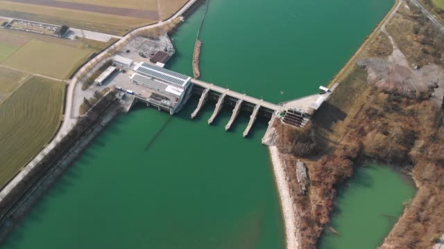 flying over hydroelectric dam - hydroelectric power stock videos & royalty-free footage