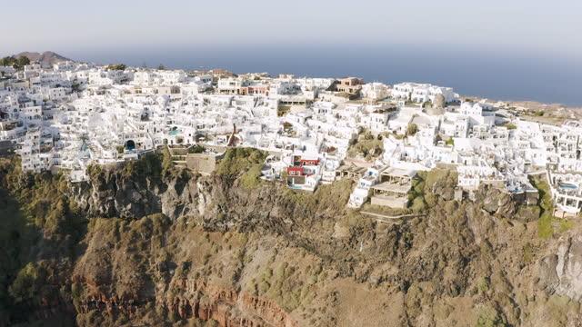 flying over imerovigli in santorini, greece - cyclades islands stock videos & royalty-free footage