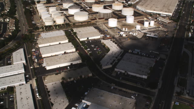 flying over industrial area in long beach, california. shot in 2010. - artbeats stock videos & royalty-free footage