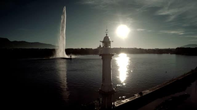 Fliegt über Fontäne im Genfer See