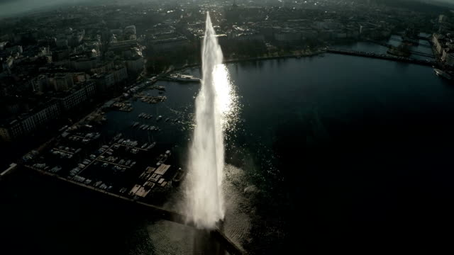 flying over Jet D'eau in Lake Geneva