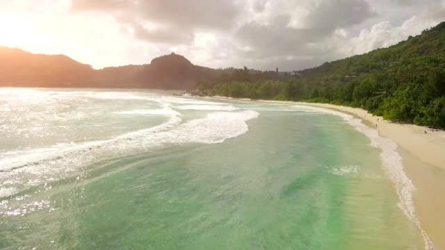 Flying over Lazare Bay at sunset - Mahe - Seychelles