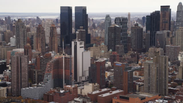 Flying over Midtown Manhattan, looking toward distant landscape. Shot in 2011.
