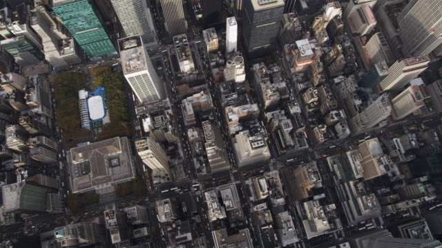 Flying over Midtown Manhattan, Rockefeller Center at left. Shot in 2011.