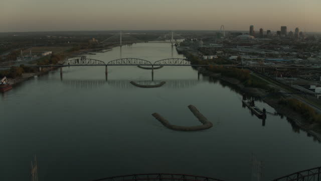flying over mississippi river in st louis - river mississippi stock videos & royalty-free footage
