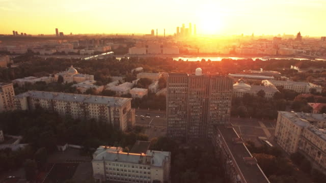 flying over moscow in sunset - moscow russia stock videos & royalty-free footage