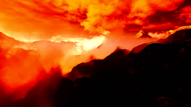 flying over mountains - red cloud sky stock videos & royalty-free footage