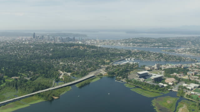 flying over of the union bay - university of washington stock videos & royalty-free footage