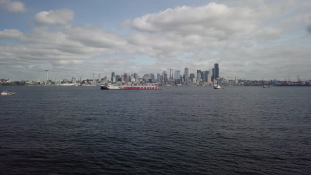 Flying Over Puget Sound Towards Downtown Seattle