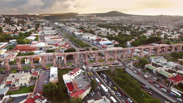 flying over queretaro aqueduct - aqueduct stock videos and b-roll footage
