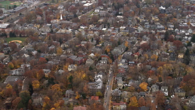 flying over residential neighborhood on boston's southside. shot in 2011. - boston massachusetts stock videos & royalty-free footage