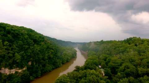 flying over river valley in thunderstorm - appalachia stock videos & royalty-free footage