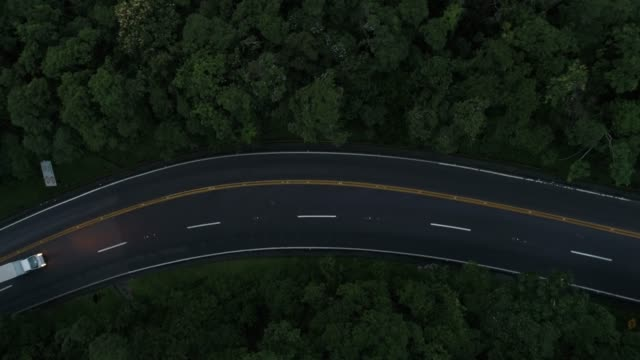 flying over road in a forest - winding road stock videos & royalty-free footage