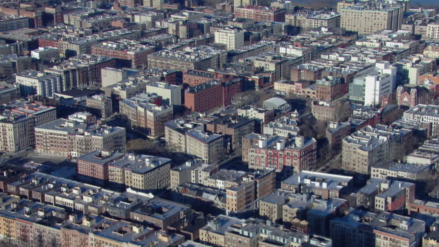 flying over rooftops of the hamilton heights and sugar hill neighborhoods in harlem, new york city. - hamilton new york state stock videos & royalty-free footage