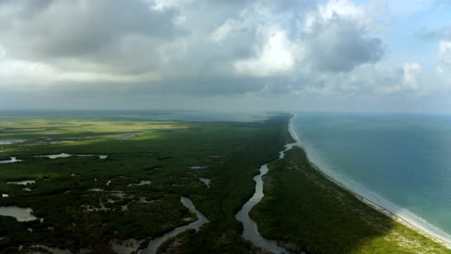 flying over scenic coastal landscape - yucatan peninsula stock videos and b-roll footage