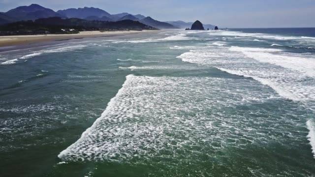 flying over second beach in oregon - coastline stock videos & royalty-free footage