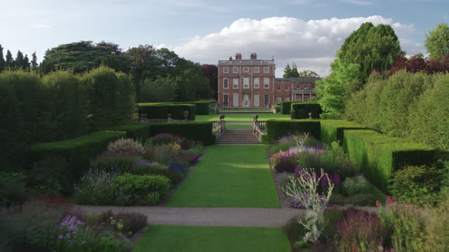 flying over shot of the double herbaceous borders toward the front of newby hall - pond stock videos & royalty-free footage