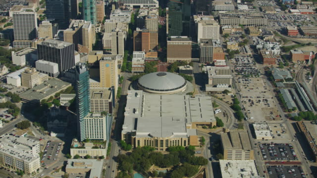 flying over shot of the fort worth convention center - ufo stock videos & royalty-free footage