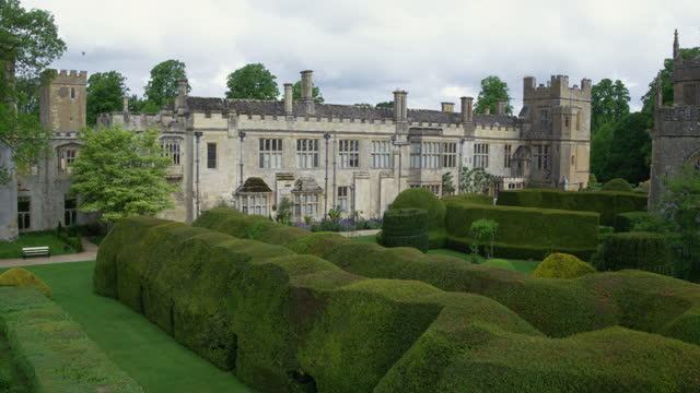 flying over shot of the queens garden at sudeley castle - stone object stock videos & royalty-free footage