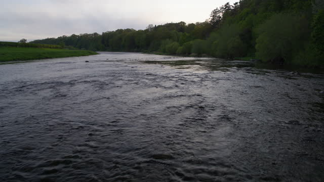 flying over shot of the river tweed - rapid stock videos & royalty-free footage