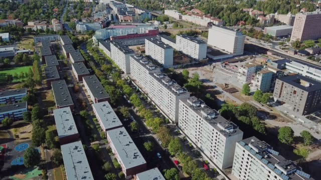 flying over suburban stockholm, apartment buildings, city centre sollentuna - 4k resolution stock videos & royalty-free footage