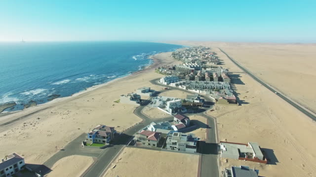 flying over swakopmund - namibia stock videos & royalty-free footage