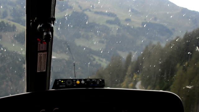 Flying over the Alps in Switzerland inside a helicopter